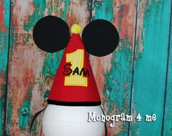 Mickey Mouse First Birthday Hat - Party Hat - Birthday Hat - First Birthday Mickey mouse Hat