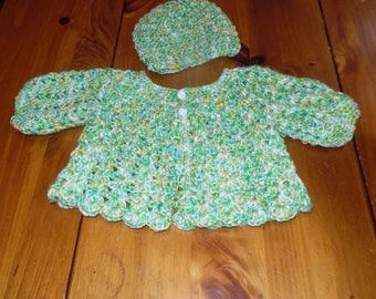 crochet baby sweater, newborn sweater, sweater with hat, infant sweater, baby boy, baby girl, baby clothing