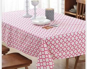 Tablecloth Cotton Linen Pink Moroccan Rectangle Square Round Oval Dining, Coffee,Party,Wedding