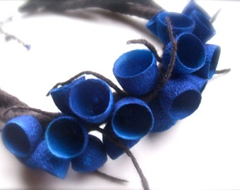 Felt necklace- necklace with cocoons - floral accessories - handmade- wool necklace - Royal  blue necklace -Ready to ship
