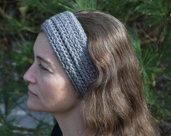 Fionna ribbed crochet Adult headband earwarmer Gray