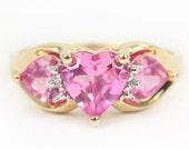 10K Pink Tourmaline Heart Ring, Pink Tourmaline Heart, Pink Tourmaline, Three Stone Tourmaline Ring, Heart Ring, Pink Heart Ring