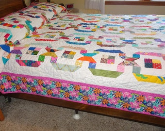 Queen Size  Ribbons Itty Bitty Scraps  Patchwork Quilt