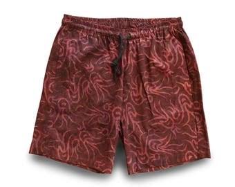 Batik Men Festival Shorts, Boho Batik Mens Short, Men Festival Clothing Dark Red, Boho Batik Short