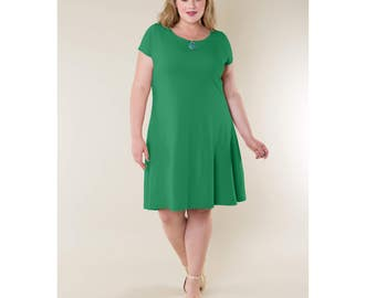 Cotton Jersey A-line Dress Customizable Length, Sleeve Length and Neckline Shape Sizes 2-28