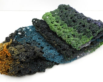 Lacy Wide Multicolored Wool and Silk Scarf
