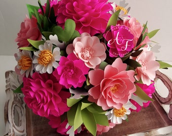 Paper Bouquet - Paper Flowers - Wedding Bouquet - Shades of Pink with Daisies - Customize Your Colors - Made To Order