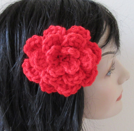 Barrette Red Flower Barrette Crocheted Flower Barrette