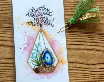 From the Inside Out  My Soul Cries Out - Midori Dashboard with Pocket Original Watercolor Art Print - Traveler's Notebook