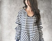 Big stripe sweatshirt/Contemporary French terry top/Navy stripe hoody/slouch cut out sleeve/long pull over