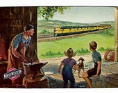 A PASSING TRAIN (2) Vintage Single Swap Playing Cards Paper Ephemera Scrapbook