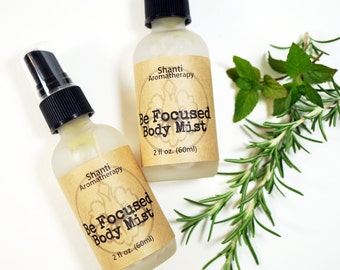 Be Focused Body Mist -  Aromatherapy Mist for Concentration - Focus - Energy - Invigorating - Rosemary black pepper Elemi - 2oz