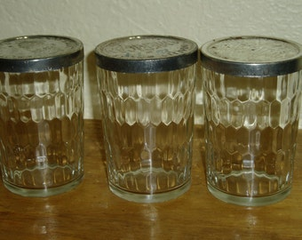 Three American Snuff Glasses with Lids