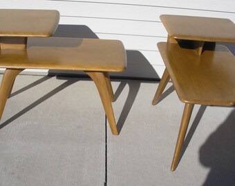Mid-Century Heywood Wakefield Side Step Tables (2) Pair
