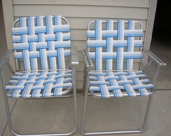 Aluminum Webbed Lawn Chairs Matching Pair