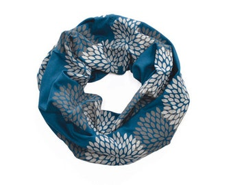 MINI INFINITY SCARF - Screen Printed - Gray Double Flowers on Midnight