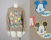80s Vintage Emotion Mickey Mouse Distressed Print Disney Sweatshirt (XS, S, M)