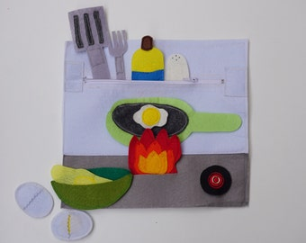 Making an Omelette-   Sensory Toy for Toddler and Baby / Kids Quiet Book / Soft Book / Fine Motor / Felt Quiet Book / Gift For Niece /
