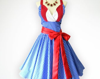Gorgeous American Flag Inspiration 50s Pin up Rockabilly Swing Dress Full Swing Skirt
