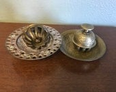 Vintage set of 2 Brass Temple Bells or Elephant Bells with trays