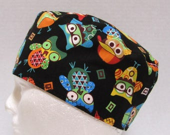 Mens Scrub Hat, Surgical Cap or Skull Cap Fun Colorful Owls