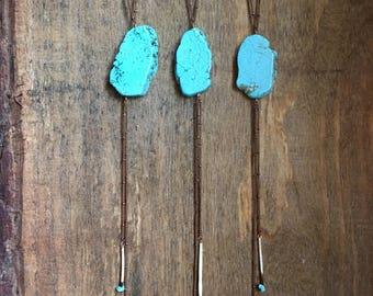 bolo <<Quilled Bolo>> copper   porcupine quill   jasper   handmade