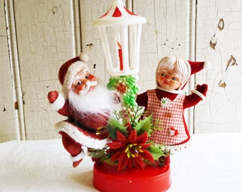 Vintage Santa and Mrs. Claus Dancing by a Lamp Post - Kitschy Christmas Decoration - 1970s