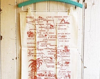 ON SALE Vintage Florida Tea Towel  - Pre-Disney Florida Map Souvenir Towel - White with Red Design - Unused NOS  - Mid-Century 1950s or 1960