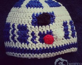 Space robot crochet hat