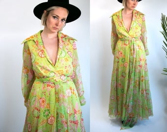 Vintage 70's Sheer Flower Print Maxi Dress in Green Long Sleeved with Matching Belt Women's Size Large Retro/Hippie/Boho