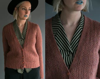 Vintage 70's Tres- Elle Knit Button Up Wool Cardigan Sweater in Purple Women's Bohemian Feminine Size Medium Retro