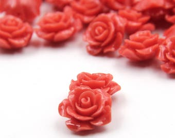 10Pieces 15mm x 8mm Red Resin Rose Flower Beads Finding  ja685