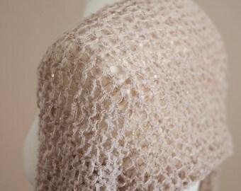 Light Beige Handknit Shrug - Elbow Length Sleeves - Gold Metallic Sequence Glitter Yarn