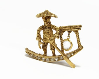 Chinese Coolie Junk Brooch, 1950's Jewelry, Crystal Dangle, Gold Tone, Har Style, Rhinestone Pin, Chinese Ship, Vintage Jewelry
