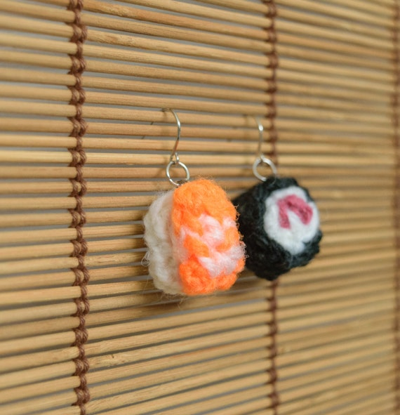 Tiny amigurumi sushi earrings *SALE*