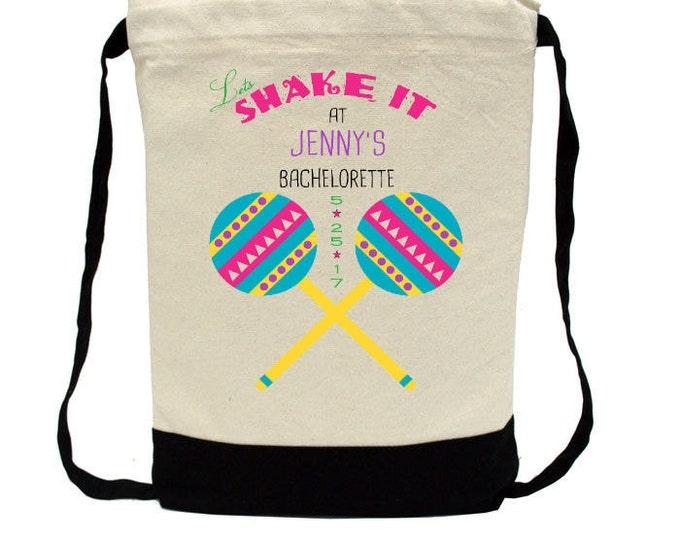 Bachelorette Party - Mexico Bach, Lets Shake It, Personalized Bachelorette Back Pack