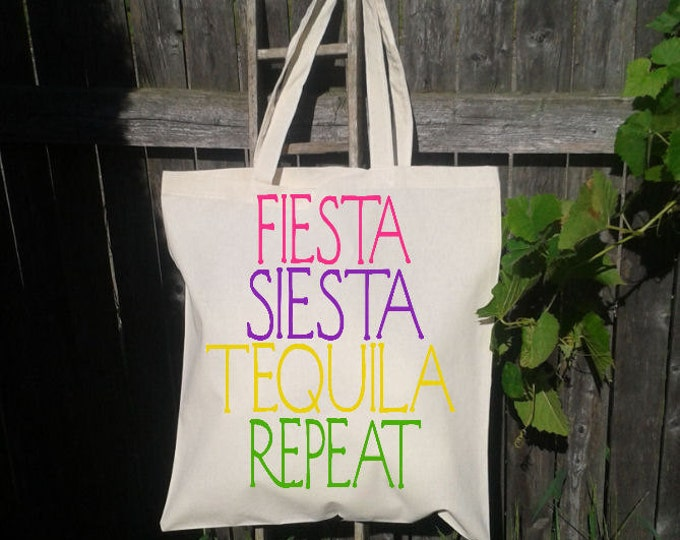Fiesta Siesta Tequila Repeat , Mexico, Bachelorette Tote Bag, Flip Flops, Bridesmaid Tote Bag, Bridal Party Tote, Wedding Welcome Bag