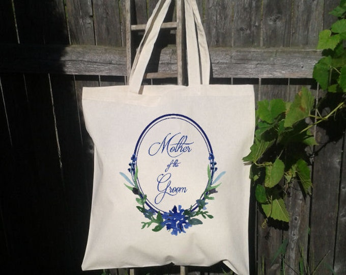 Mother of the Bride Wedding Favor,  Mother of the Groom Wedding Welcome Tote - Wedding Tote Bags, Floral Wedding Bags