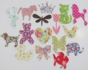 15 Assorted Baby Girl Iron On Appliques Baby Shower Activity Girl Iron on Patch Baby Shower Activity