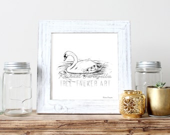 Swan Mother Illustration- Giclee Fine Art Print - Pen and Ink Illustration - Swan Family Drawing - Artist Rachael Caringella