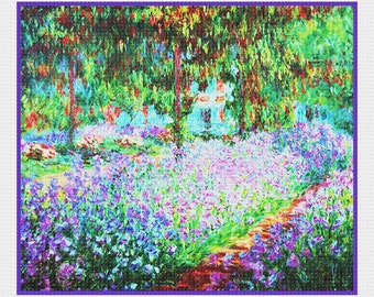 Digital DOWNLOAD Impressionist Claude Monet'sThe Artists Garden in Giverny detail Counted Cross Stitch Chart / Pattern
