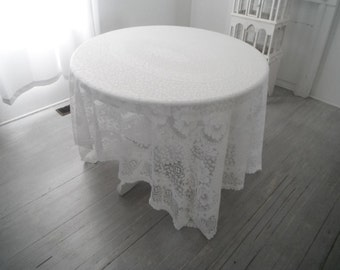 shabby cottage decor vintage tablecloth wedding decor french country cottage lace cloth white tablecloth cottage chic rectangular cloth
