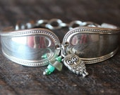 Lovely Spoon Bracelet Made From Antique Spoons With Colorful, Owl Charm