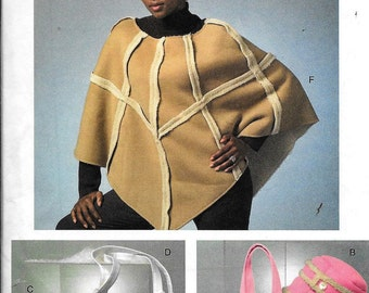 Vogue V8172 Poncho, Hat, Mittens and Bags Purse Handbag Sewing Pattern 8172 UNCUT