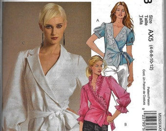 McCalls M5323 Womens Fitted Wrap Blouse Ruffle Sash Sewing Pattern 5323 UNCUT Size 4, 6, 8, 10 and 12