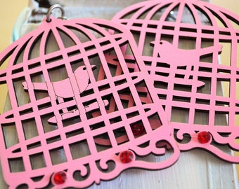 Birdcage Earrings Pink    Paris Chic Abstract  Bohemian