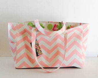 MADE TO ORDER Pink Chevron Diaper Bag, Waterproof laminated cotton lining, 6 pockets