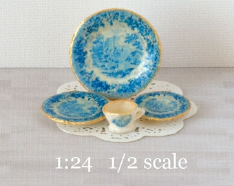 1:24 French Blue Decals for Miniature Dishes