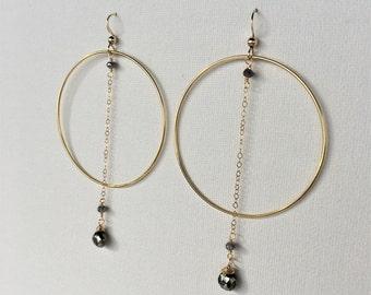 Pyrite & Gold Hoop Dangle Earrings, Pyrite Teardrop Earrings, Gold Hoop Earrings, Pyrite Earrings, Gemstone Earrings by Indira Boheme