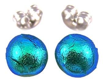 "Tiny Dichroic Post Earrings - 1/4"" 6mm 7mm - Metallic Teal Green Viridian Verdigris Fused Glass Lolly Pop"